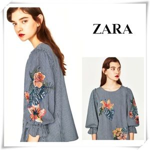Zara Floral Embroidered Ruffle Sleeve Striped Tops
